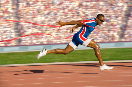 Sprinter Crossing the Finish Line